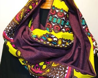 African Print and Plaid Infinity Scarf // Maroon and Yellow Circle Scarf // African Wax Print Scarf