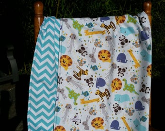 Animals - Baby Shower Gift - Handmade -Baby Blanket - Gender Neutral - Swaddling Blanket - Ready To Ship - OOAK