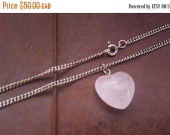 ON SALE Vintage Sterling Silver Necklace with Rose Quartz Heart Pendant