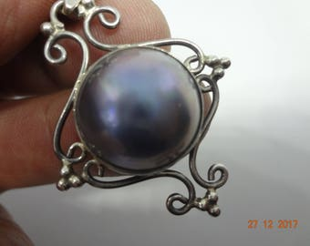Pendant in sterling silver with MABE pearl - FREE  Shipping