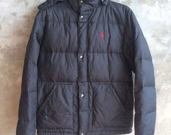 Vintage Polo Ralph Lauren Black Goose Down Jacket Size L