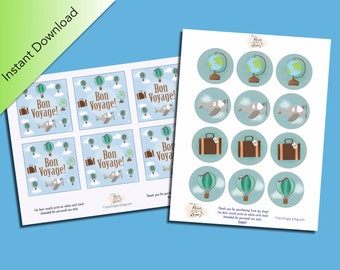 Bon Voyage Party Digital Download Packet, Party Favors, Cupcake Toppers, Gift Tags, Mini Thank You Cards, Traveling, Globe, Suitcase, Planes