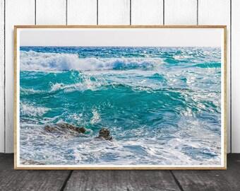 Coastal Print, Coastal Decor, Beach Decor, Ocean Wave Print, Beach Water Print, Ocean Photography, Ocean Wall Art, Sea Print, Printable Art
