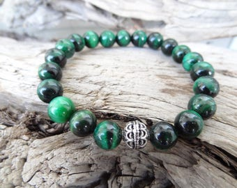 EXPRESS SHIPPING,Sterling Silver 925 Bracelet,Emerald Green Tiger Eye Bracelet Bracelet,Stone Jewelry,Good Luck,Mala,Yoga,Christmas Gifts