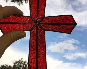 Handcrafted Stained Glass Cross