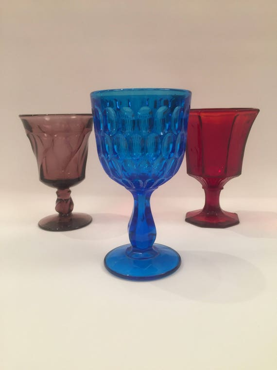 Collection Of 3 Art Glass Goblets/Wine Glass