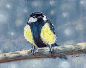 Bird n3. Original pastel painting on sandpaper . Using artists' quality pastels