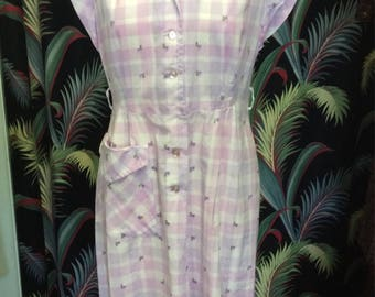 Vintage 1940's lavendar dress/50's summer dress/vintage lavender dress/size small medium