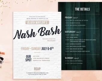 Nash Bash Nashville Bachelorette Party Invitation