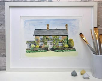 Personalised line and wash painting of your home, house portrait, watercolour house illustration