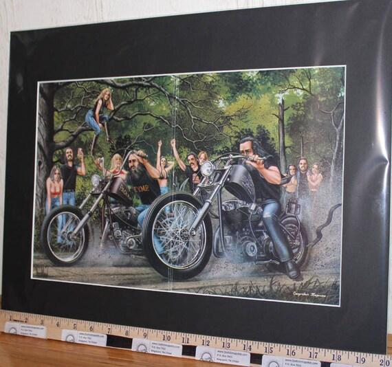 "David Mann ""Motorcycle Race"" 16'' x 20'' Matted Motorcycle Biker Art #8110ezrxmb"