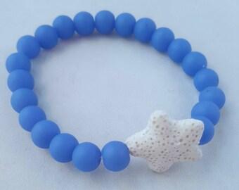 Mala bracelet/ Blue chaldedony, lava rock/  Yoga bracelet/  Women/ Boho bracelet/ Healing bracelet/ boho / infusible bracelet/ stretch