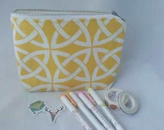 Cotton pouch/ make up bag/ pencil case/ clutch bag/ pouch/  clutch / yellow pouch