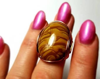 SALE Landscape Jasper Ring, Size 6, 6.5, Size 7, Caramel Brown Cabochon, Warm Copper, Oval Rings, Chunky Rings, Oval Stone Cabochon Rings, B