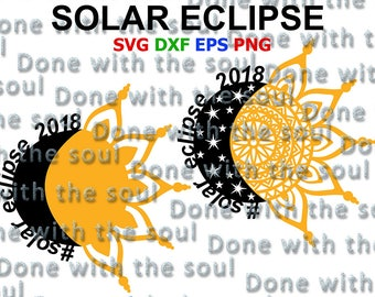 Solar eclipse svg - Solar eclipse vector - Solar eclipse clipart  - Solar eclipse cut file - Total eclipse - Eclipse 2018- SvgEpsDxf