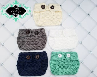 Baby diaper cover, newborn photo diaper cover, you pick color diaper cover, crochet diaper cover, photo prop diaper cover