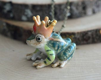 Hand Painted Porcelain Frog Prince Necklace, Antique Bronze Chain, Vintage Style, Ceramic Animal Pendant & Chain (CA135)