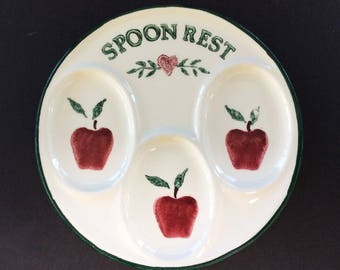 3-Slot Spoon Rest with Red Apple Decor, Vintage Ceramic