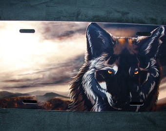 WOLF  WOLF Eyes Metal License Plate Tag For Cars And Suvs... Animal love... WOLF Lovers...