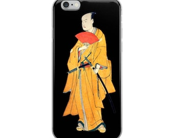 Japanese print iPhone case, unusual kabuki actor samurai woodblock Asian ukiyo-e art case