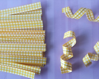 Set of 10 ties (ties) gingham yellow color to your packaging