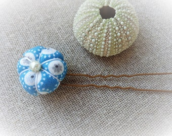 Hair pin Bobby hair pin Bobby Japanese flower blue green patterned