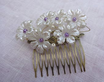 Vintage bronze comb hair comb flower comb comb violet hair ceremony - ivory flower - ninette hair comb
