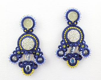 Soutache and lava earrings