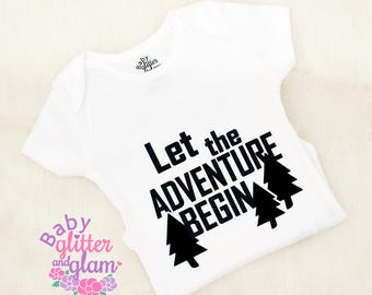 Let the Adventure Begin, Pregnancy Announcement Reveal, Daddy's Adventurer, Happy Camper, Boho Baby Clothes, Newborn Boy Outfit