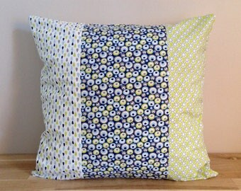 Cushion cover 40 x 40, blue, green, grey patchwork