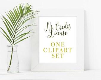 NO CREDIT LICENSE For 1 Clipart Set