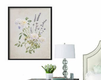 Botanical Print - Farmhouse Decor - French Country Decor - Print - Wall Art Print - Large Print - Extra Large Print - Vintage Wall Art