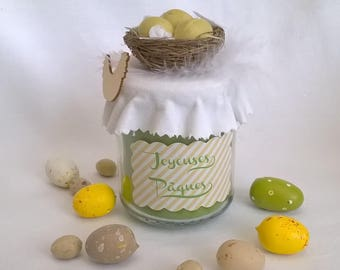 Nest candle, green, spring & Easter