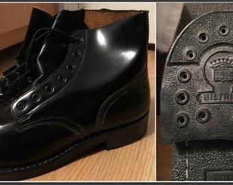 Vintage 1980 Biltrite Men's Military Combat Service Boots Black Size 8.5 D - NEW IN BOX