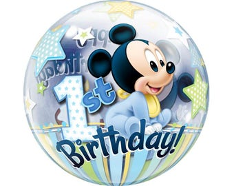 """Disney Baby Mickey Mouse Bubble Balloon 22"""" First 1st Birthday Party Decoration Supplies Décor Photo Prop"""