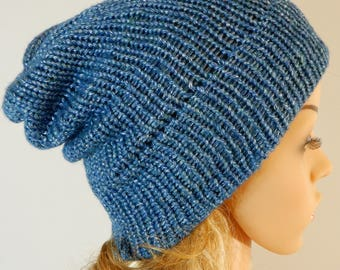 Knit beanie hat Adult unisex beanie Slouchy beanie hat Womens beanie Knit hat women Blue melange hat stretchy S-L