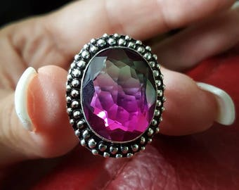 Watermelon Tourmaline Ring - size 9.5!