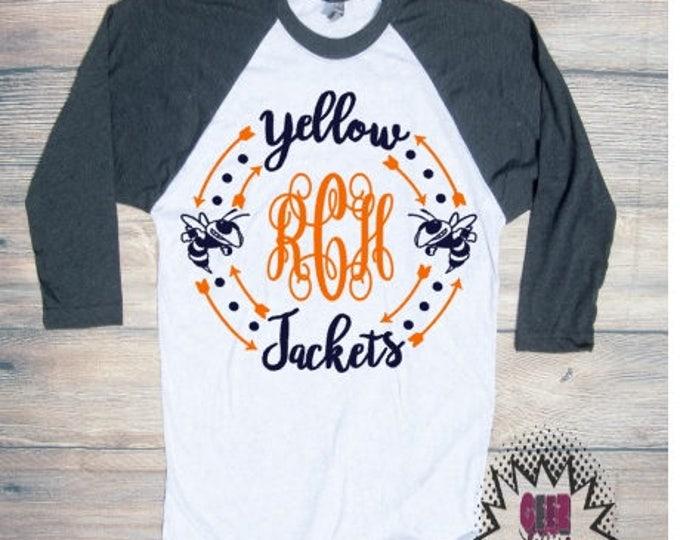 yellow jackets Monogram T-shirt Adult Raglan Baseball Tee 3/4 Sleeve Vinyl Unisex Cotton Ball Sports Team Football