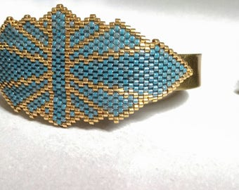 Sleeve shoulder, Japanese beads, gold and blue