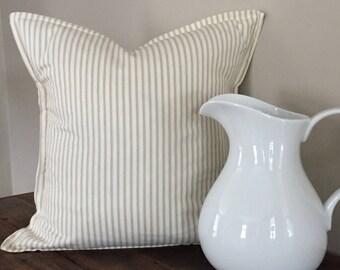 Farmhouse Pillow-Tan Ticking Stripe Pillow Cover-Throw Pillow Cover-Decorative Pillow-Farmhouse Style-Cottage Pillows-Home Decor