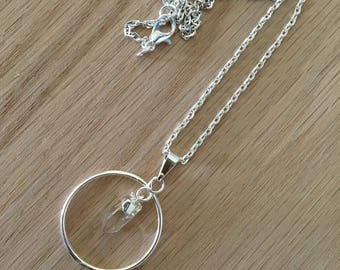Silver Ring Pendant with Petite Crystal Quartz Necklace