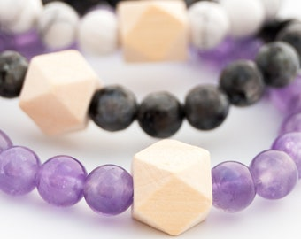 Aromatherapy Gemstone Bracelet, Wooden diffuser bead, Amethyst, Larvikite, Howlite, diffuser jewelry, essential oils, anxiety relief