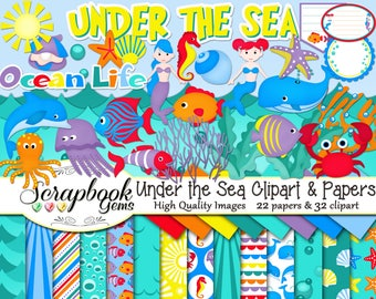 UNDER THE SEA Clipart and Papers Kit, 32 png Clip arts, 22 jpeg Papers Instant Download ocean beach whale crab dolphin nautical water bubble