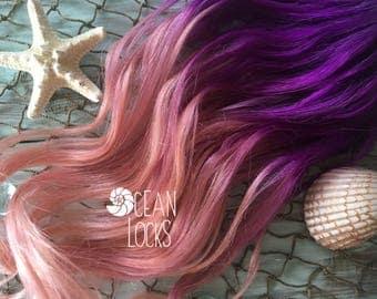Ombre Hair Extensions, Clip In, Pastel Hair, Rose Gold Hair, Pink Hair, Purple Hair, Human Hair Extensions, Mermaid Hair, Ocean Locks Hair