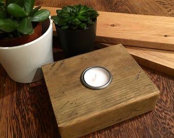 Candle holder. Reclaimed wood tea light holder. Oak stained. Pressed iron holder.