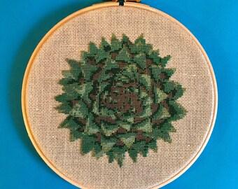 diy rustic home decor, succulent, cross stitch kit, 18 count, cactus, cross stitch kit, counted cross stitch, diy succulent gift, advanced