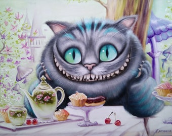Breakfast Cheshire Cat Oil Painting cat