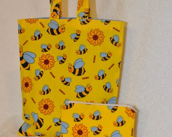 Childrens Bee fabric Tote Bag and Coin Purse.