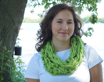 Chunky Knit Scarf - Lime Green Cozy Scarf  - Louisa Infinity Scarf