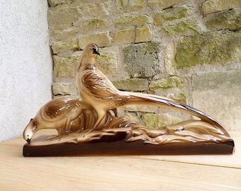 Pheasant couple statue - Art deco 20th century - Statue faience - Enamelled statue - Art deco statue -